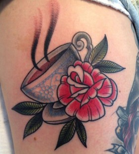 Sweet teacup and rose tattoo