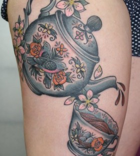 Sweet teapot leg tattoo