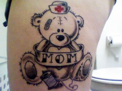 Sweet teddy bear tattoo