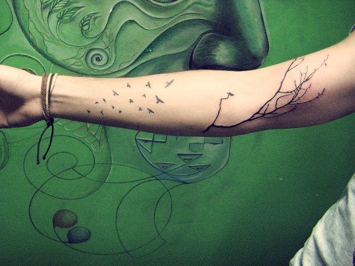 Sweet tree branch tattoo