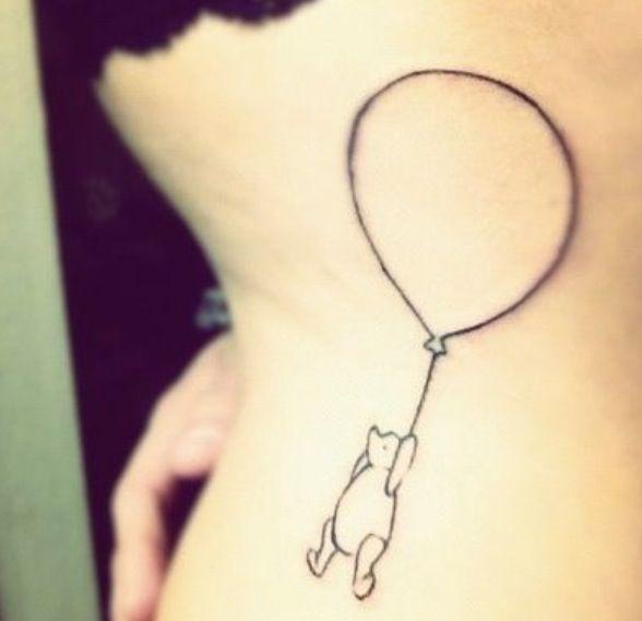 Sweet winnie with balloon tattoo