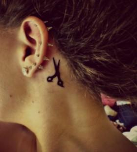 Awesome black scissor tattoo