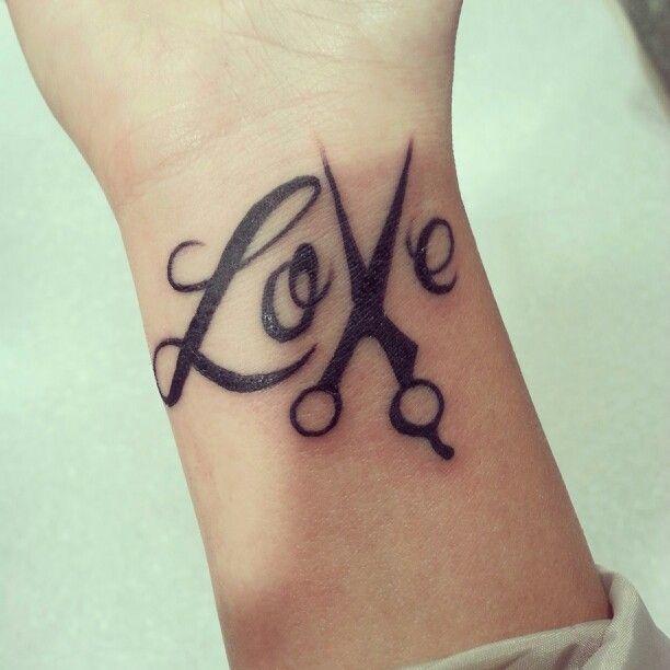 Love black scissor tattoo