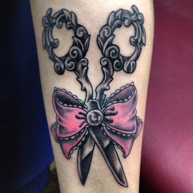 Pink bow scissor tattoo