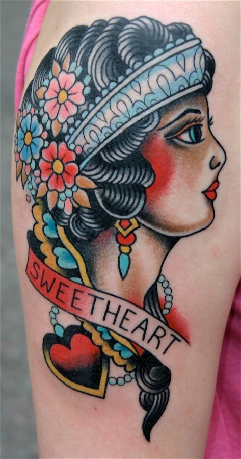 A lot of flowers and American Traditional Tattoo