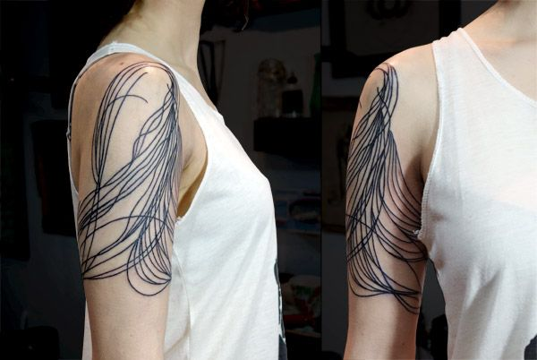 Abstract lines tattoo by Lisa Orth