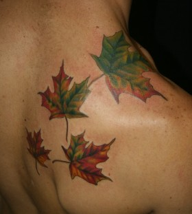 Adorable men's autumn colorful tattoo