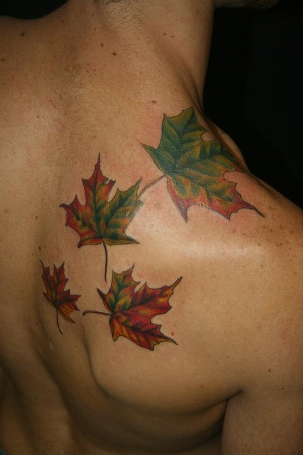 Adorable men's autumn colorful tattoo