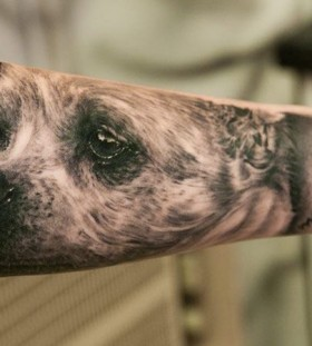 Adorable sad dog tattoo
