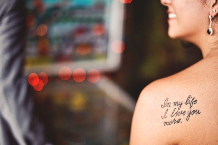 Adorable shoulder girl's Beatles tattoo