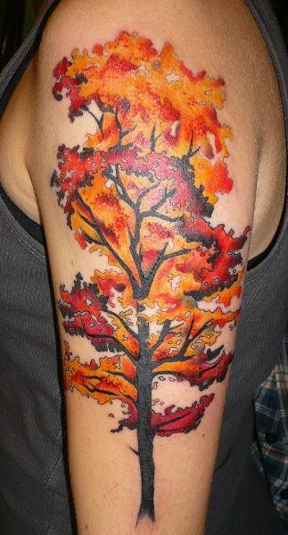 Adorable trees autumn tattoos