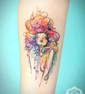 Adorable women's tattoo by Candelaria Carballo