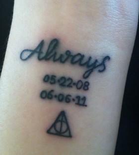 Always date black accio tattoo