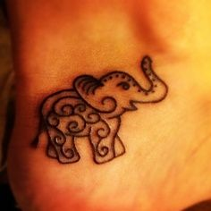 Amazing black elephant tattoo