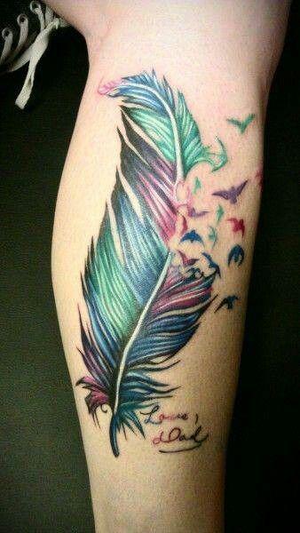 Amazing colorful leg's tattoo