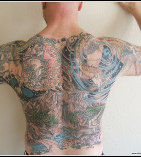 Amazing full men's back tattoo