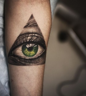 Amazing green eye tattoo