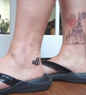 Amazing leg's castle tattoo