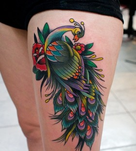 Amazing peacock American Traditional Tattoo