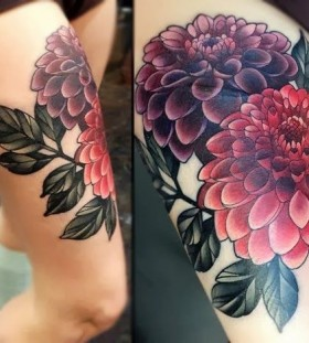 Amazingly colorful flowers leg's tattoo