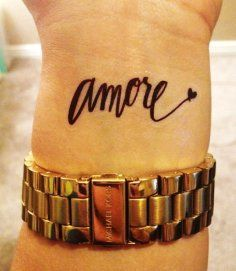Amore black quote tattoo