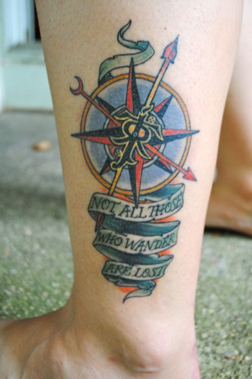 Anchor types tattoo on men's legs
