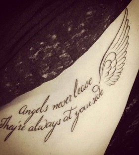 Angels never leave quote tattoo