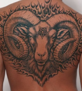 Animal black men's back tattoo