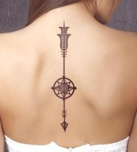 Arrow design compass tattoo