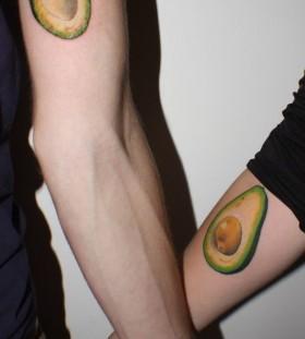 Avocado style love tattoo
