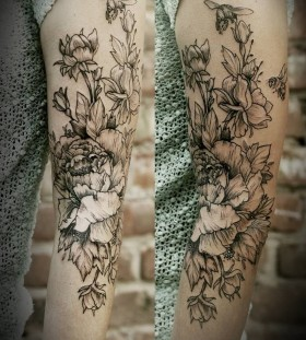 Awesome bees and flowers Victor J Webster tattoo