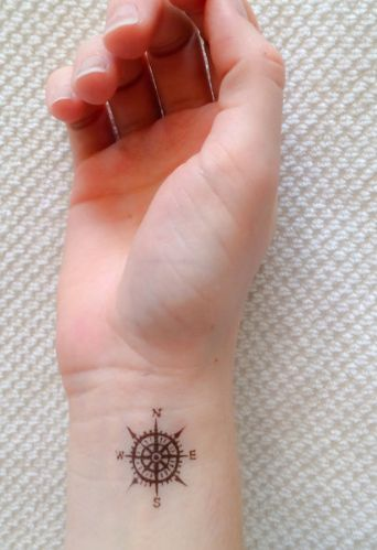 Awesome compass temporary tattoo