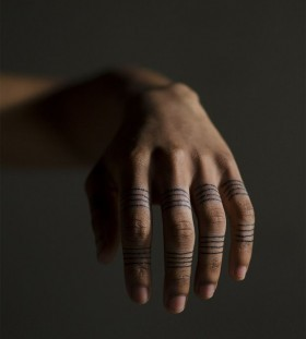 Awesome fingers lines tattoo