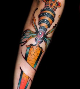 Awesome knife and bee tattoo on arm