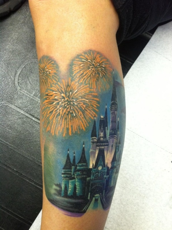 Awesome looking castle tattoo
