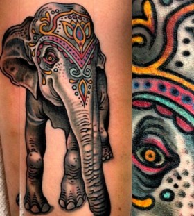 Awesome style elephant tattoo