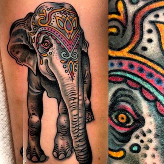 Awesome style elephant tattoo