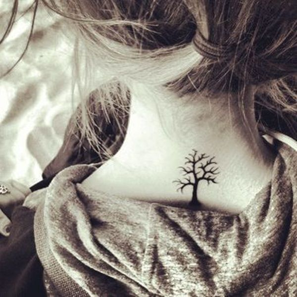 Awesome tree tattoo on neck