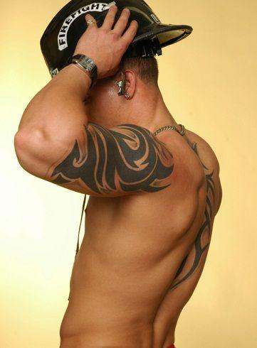 Back and shoulder men's arm tattoo