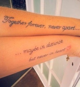 Beautiful touching quote tattoo