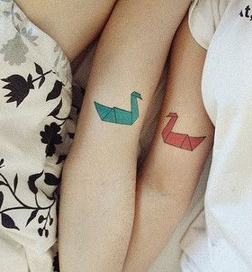 Best friends colorful swan tattoo