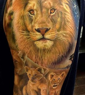 Big and small lions tattoo