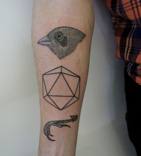 Bird and figures geometric style tattoo