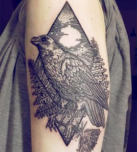 Bird and plants tattoo by Lisa Orth