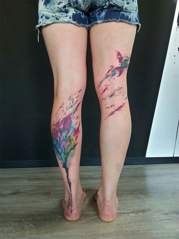 Birds colorful leg's tattoo