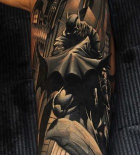 Black adorable batman tattoo
