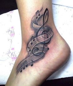 Black and brown music style tattoo