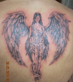 Black and white angel tattoo