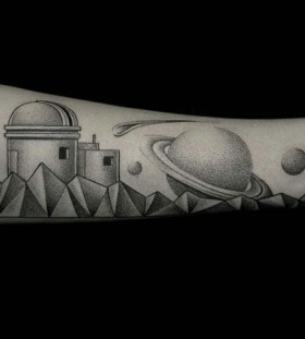 Black and white saturn Ilya Brezinski tattoo