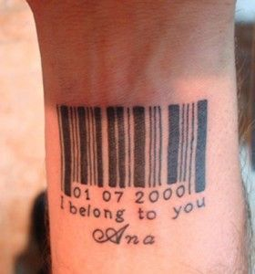 Black barcode men's tattoos